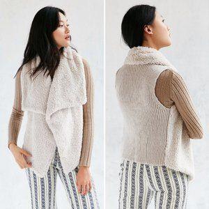 BB Dakota Rennie Faux Fur Knit Back Open Vest